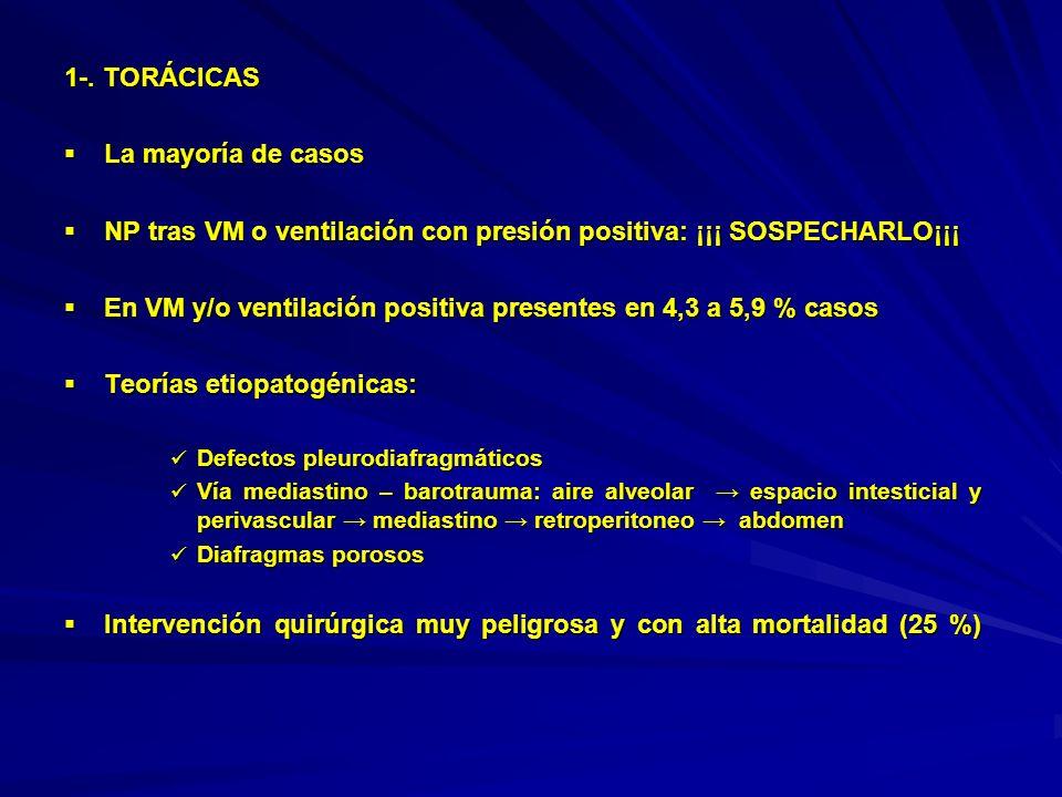 1-. TORÁCICAS La mayoría de casos La mayoría de casos NP tras VM o ventilación con presión positiva: ¡¡¡ SOSPECHARLO¡¡¡ NP tras VM o ventilación con p