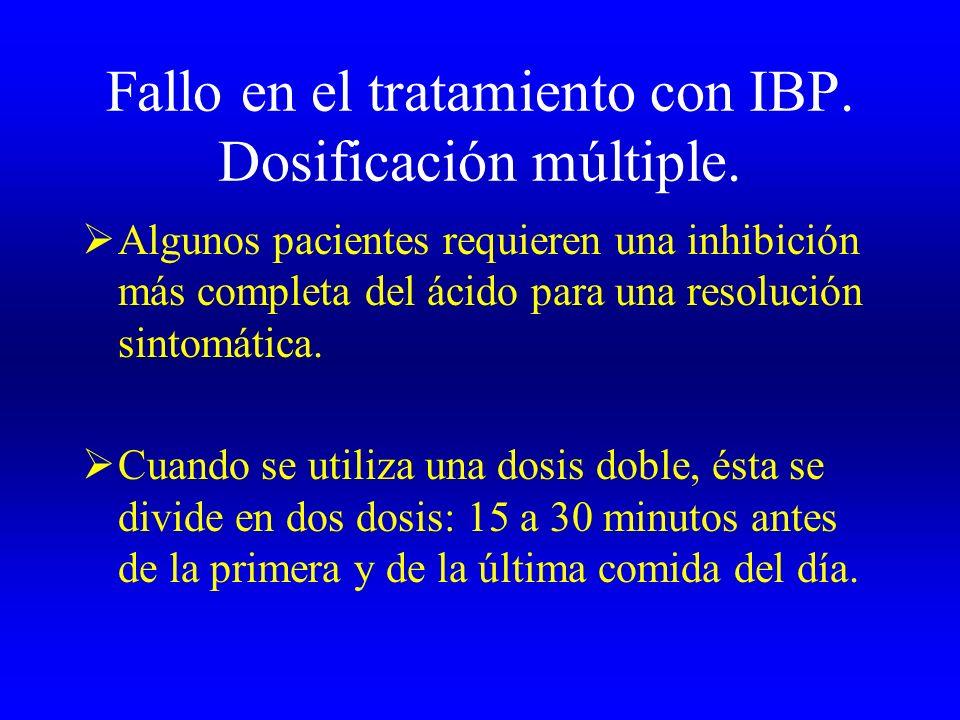 Fallo en el tratamiento con IBP. Dosificación múltiple. Algunos pacientes requieren una inhibición más completa del ácido para una resolución sintomát
