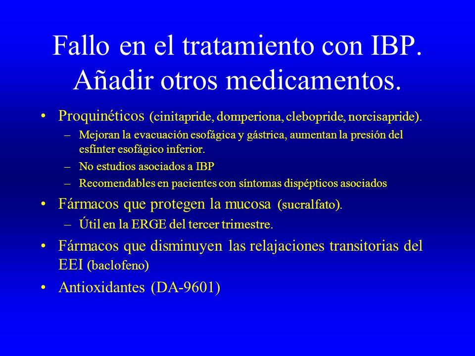 Fallo en el tratamiento con IBP. Añadir otros medicamentos. Proquinéticos (cinitapride, domperiona, clebopride, norcisapride). –Mejoran la evacuación