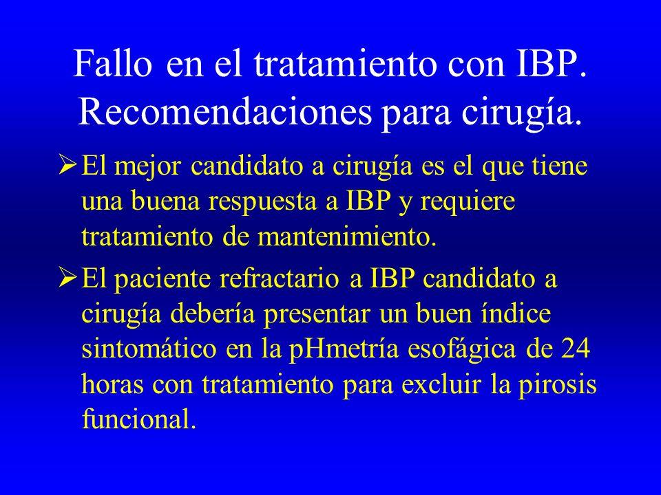 Fallo en el tratamiento con IBP. Recomendaciones para cirugía. El mejor candidato a cirugía es el que tiene una buena respuesta a IBP y requiere trata
