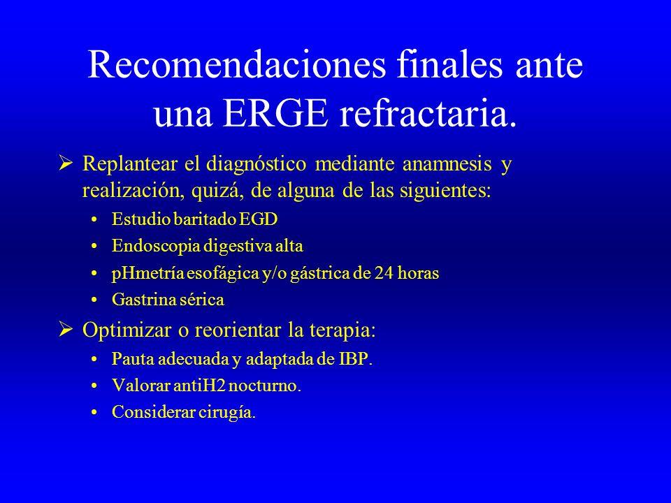 Recomendaciones finales ante una ERGE refractaria. Replantear el diagnóstico mediante anamnesis y realización, quizá, de alguna de las siguientes: Est