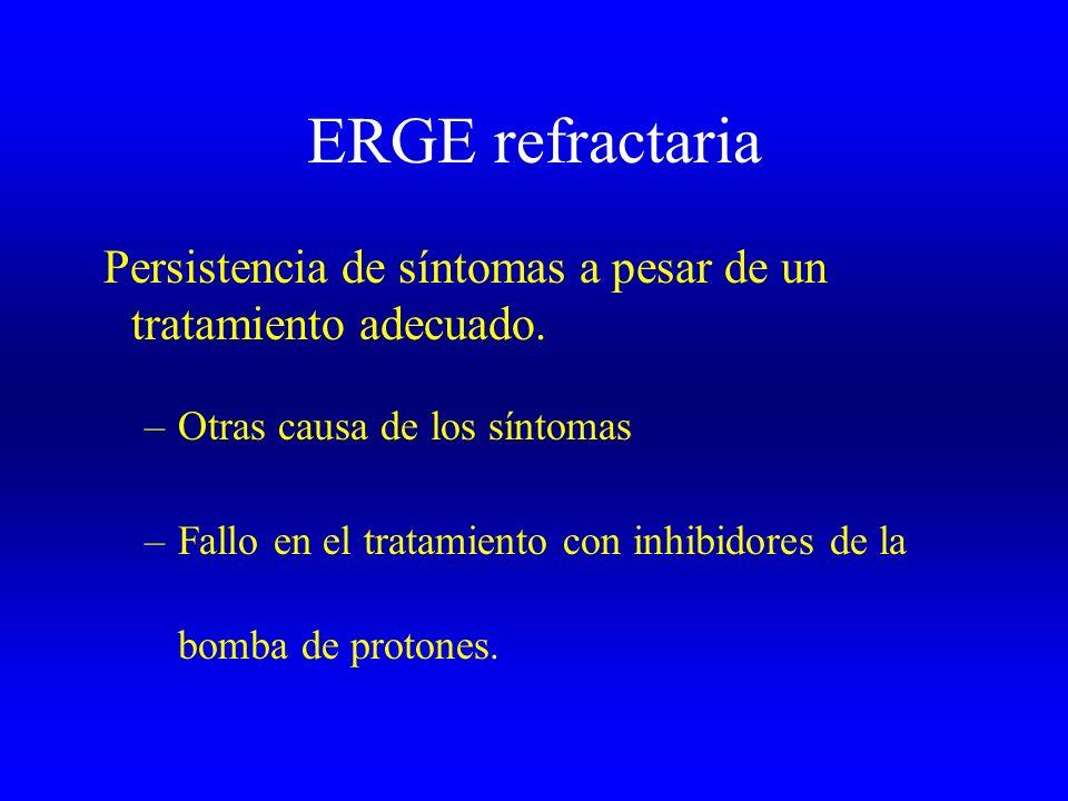 ERGE refractaria Persistencia de síntomas a pesar de un tratamiento adecuado. –Otras causa de los síntomas –Fallo en el tratamiento con inhibidores de
