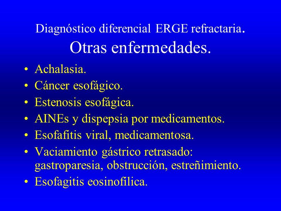 Diagnóstico diferencial ERGE refractaria. Otras enfermedades. Achalasia. Cáncer esofágico. Estenosis esofágica. AINEs y dispepsia por medicamentos. Es