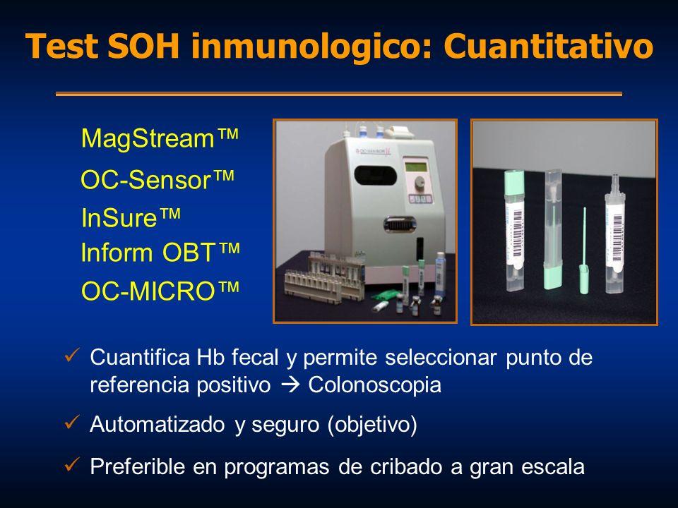 MagStream OC-Sensor InSure Inform OBT OC-MICRO Cuantifica Hb fecal y permite seleccionar punto de referencia positivo Colonoscopia Automatizado y segu