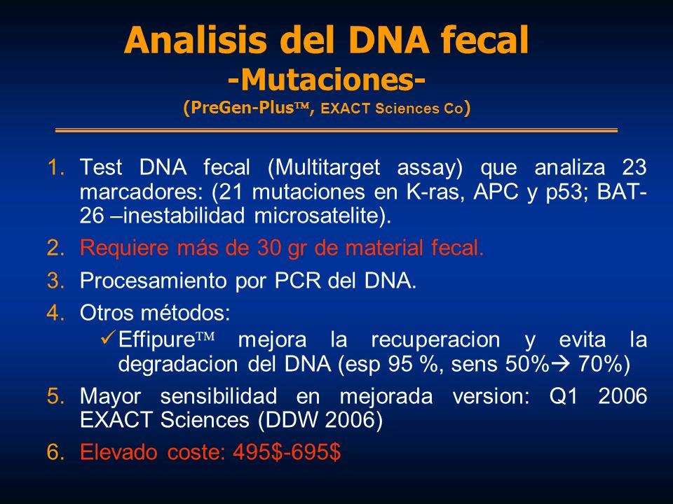 Analisis del DNA fecal -Mutaciones- (PreGen-Plus, EXACT Sciences Co ) 1.Test DNA fecal (Multitarget assay) que analiza 23 marcadores: (21 mutaciones e