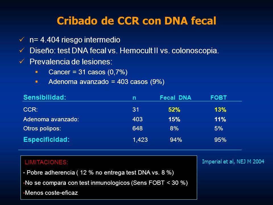 Imperial et al, NEJ M 2004 n= 4.404 riesgo intermedio Diseño: test DNA fecal vs. Hemocult II vs. colonoscopia. Prevalencia de lesiones: Cancer = 31 ca
