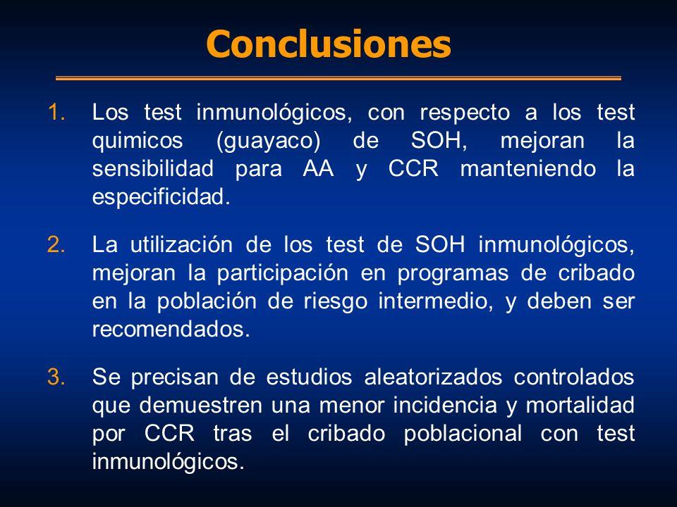 Conclusiones 1.Los test inmunológicos, con respecto a los test quimicos (guayaco) de SOH, mejoran la sensibilidad para AA y CCR manteniendo la especif
