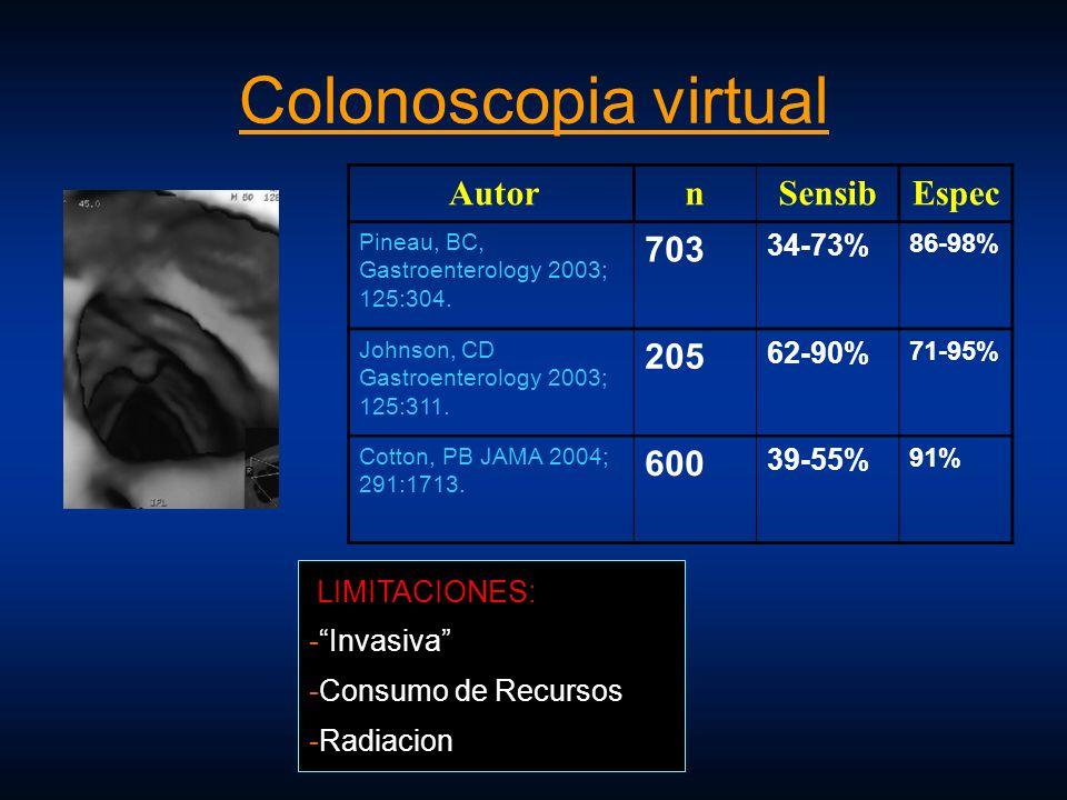 Colonoscopia virtual AutornSensibEspec Pineau, BC, Gastroenterology 2003; 125:304. 703 34-73% 86-98% Johnson, CD Gastroenterology 2003; 125:311. 205 6