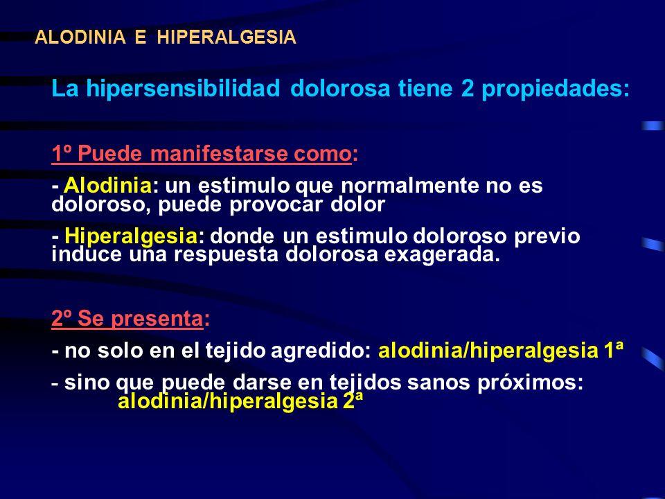 La hipersensibilidad dolorosa tiene 2 propiedades: 1º Puede manifestarse como: - Alodinia: un estimulo que normalmente no es doloroso, puede provocar