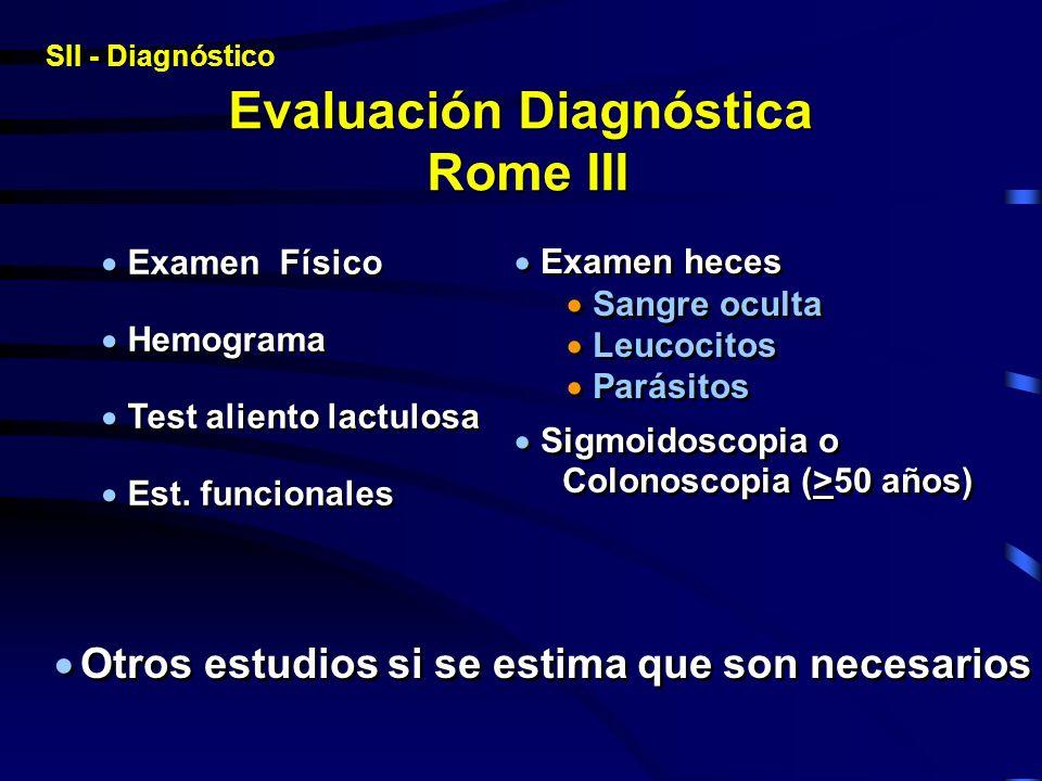 Evaluación Diagnóstica Rome III Examen Físico Hemograma Test aliento lactulosa Est. funcionales Examen Físico Hemograma Test aliento lactulosa Est. fu