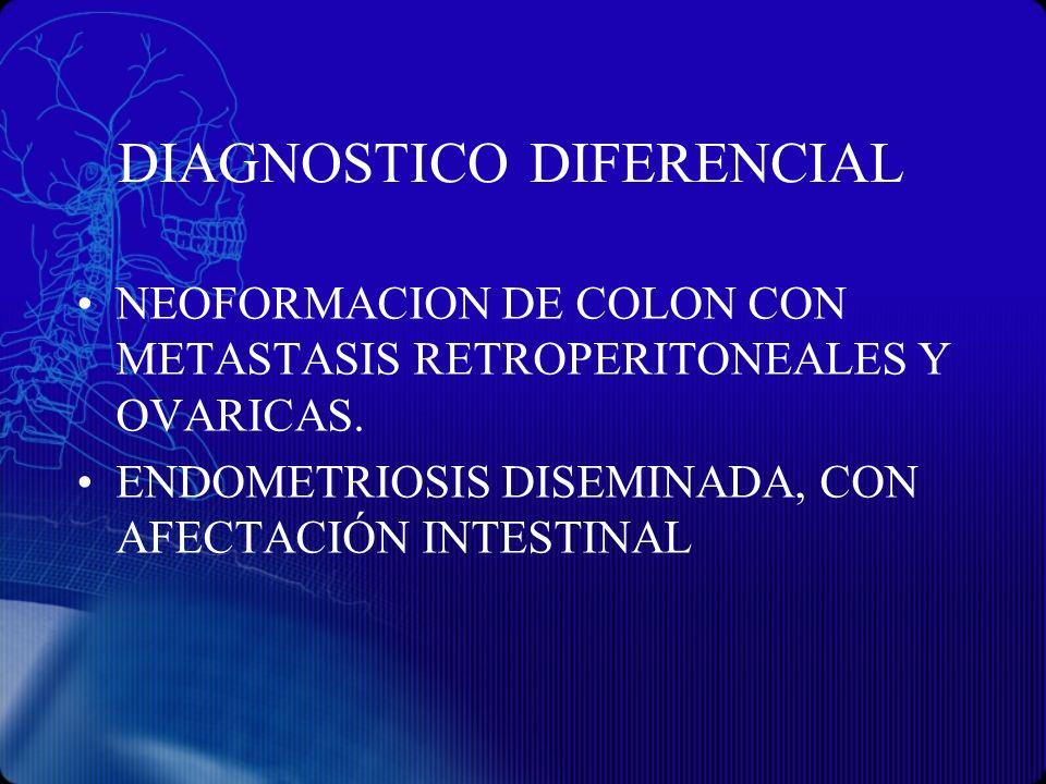 DIAGNOSTICO DIFERENCIAL NEOFORMACION DE COLON CON METASTASIS RETROPERITONEALES Y OVARICAS. ENDOMETRIOSIS DISEMINADA, CON AFECTACIÓN INTESTINAL