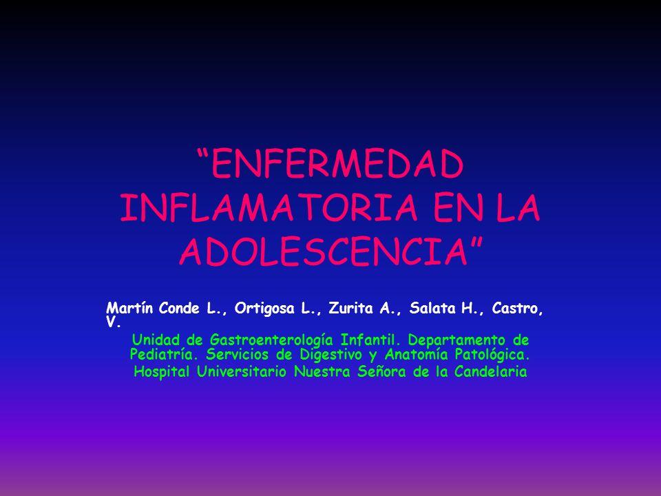 ENFERMEDAD INFLAMATORIA EN LA ADOLESCENCIA Martín Conde L., Ortigosa L., Zurita A., Salata H., Castro, V. Unidad de Gastroenterología Infantil. Depart