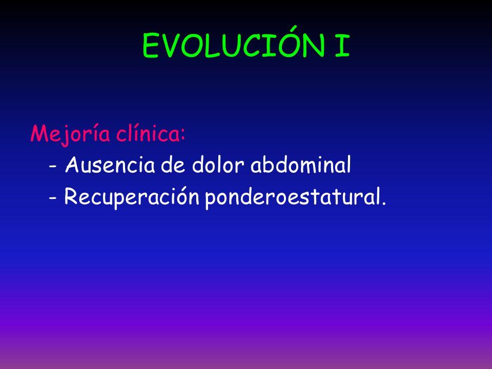 EVOLUCIÓN I Mejoría clínica: - Ausencia de dolor abdominal - Recuperación ponderoestatural.