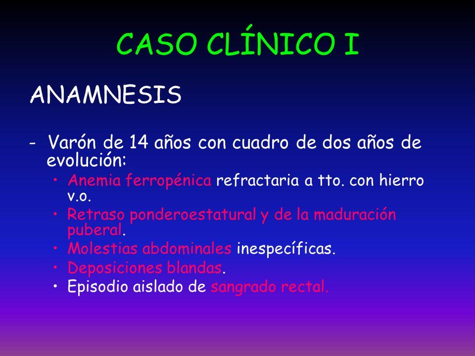 CASO CLÍNICO I ANAMNESIS - Varón de 14 años con cuadro de dos años de evolución: Anemia ferropénica refractaria a tto. con hierro v.o. Retraso pondero