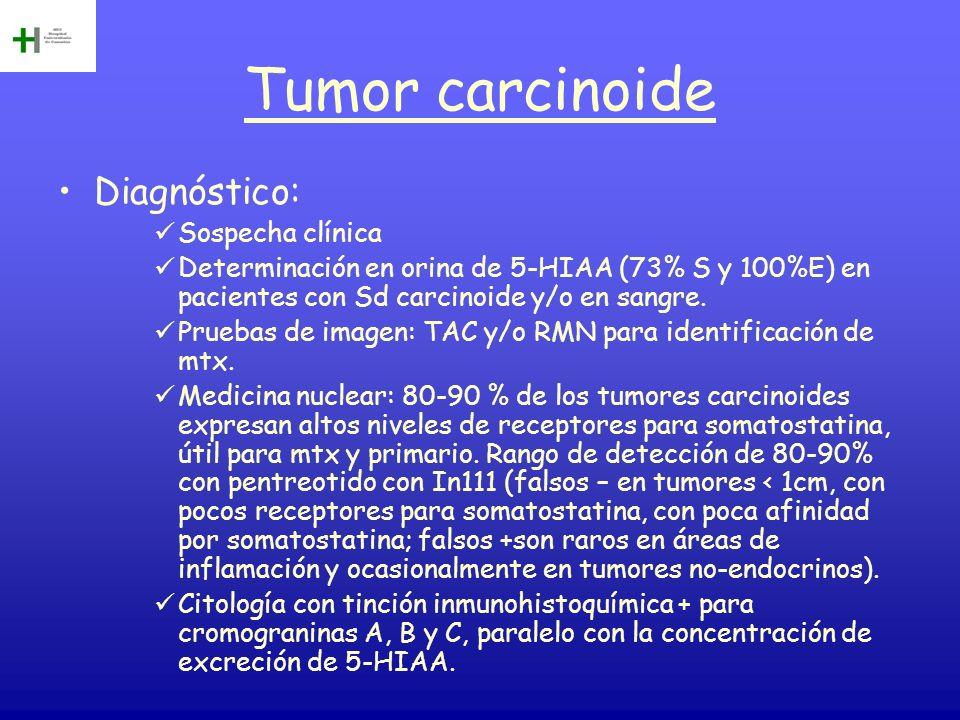 Tumor carcinoide Diagnóstico: Sospecha clínica Determinación en orina de 5-HIAA (73% S y 100%E) en pacientes con Sd carcinoide y/o en sangre. Pruebas