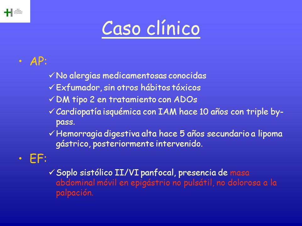 Caso clínico AP: No alergias medicamentosas conocidas Exfumador, sin otros hábitos tóxicos DM tipo 2 en tratamiento con ADOs Cardiopatía isquémica con