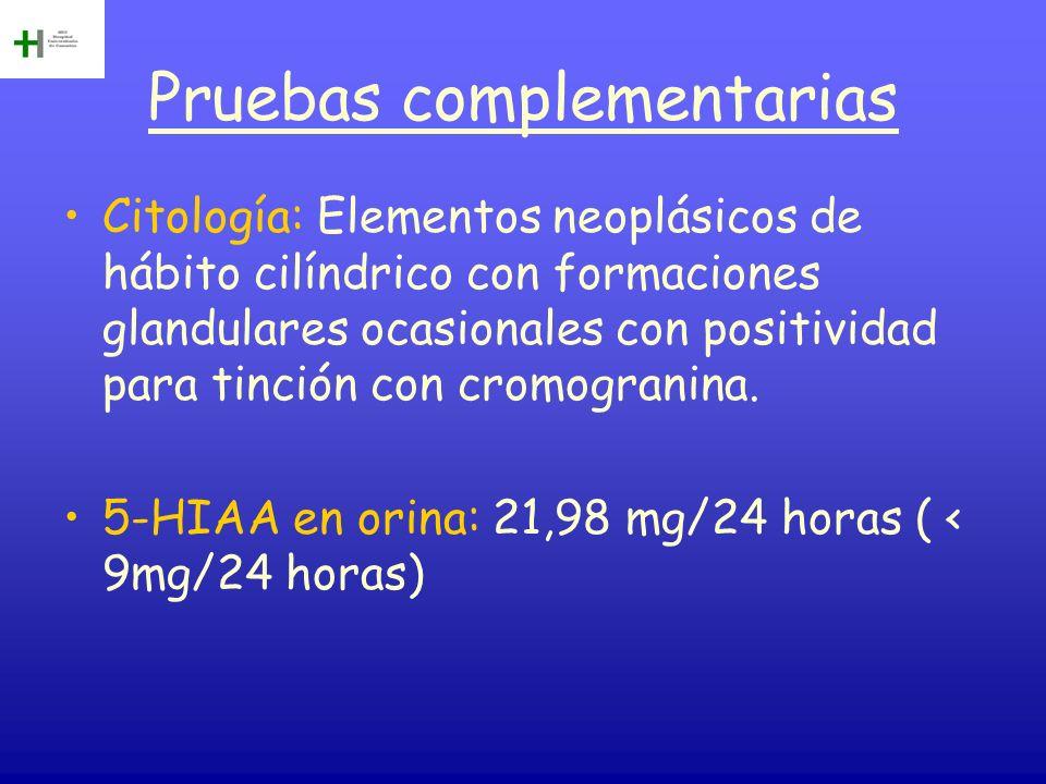 Pruebas complementarias Citología: Elementos neoplásicos de hábito cilíndrico con formaciones glandulares ocasionales con positividad para tinción con