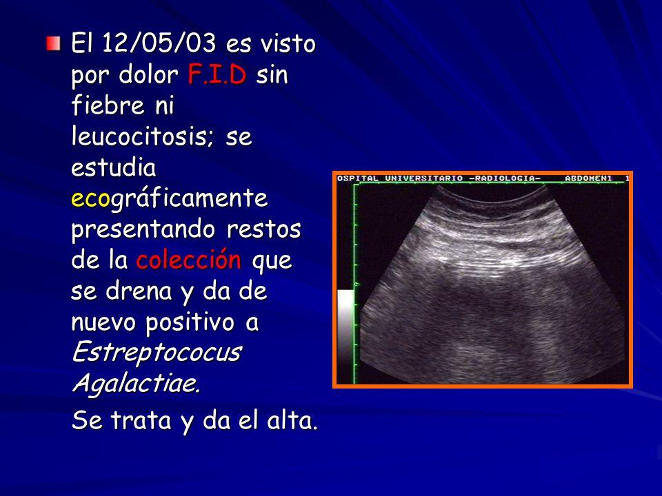 El 12/05/03 es visto por dolor F.I.D sin fiebre ni leucocitosis; se estudia ecográficamente presentando restos de la colección que se drena y da de nu