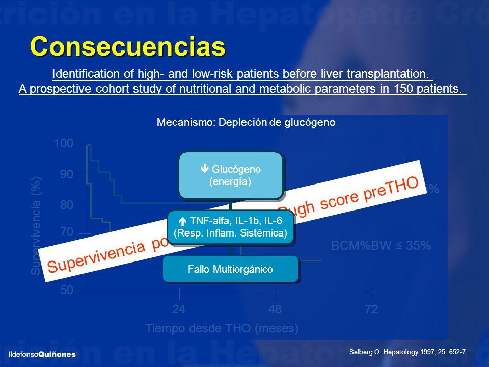 BCM%BW 35% BCM%BW > 35% 100 90 80 70 60 50 244872 Supervivencia (%) Tiempo desde THO (meses) Consecuencias Selberg O. Hepatology 1997; 25: 652-7. Iden