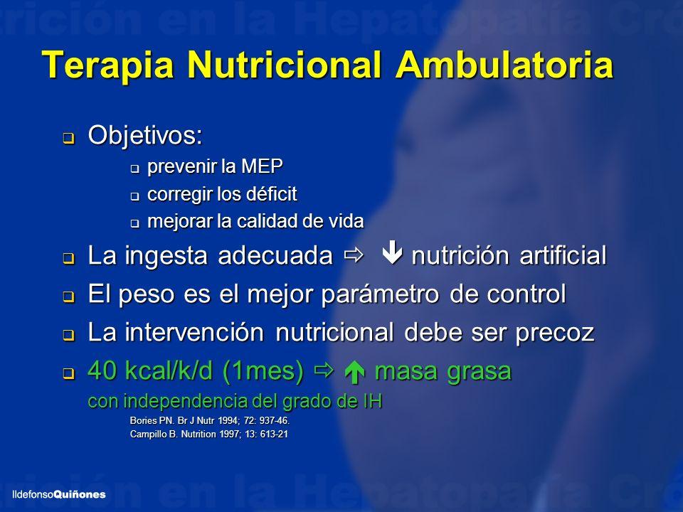 Terapia Nutricional Ambulatoria Objetivos: Objetivos: prevenir la MEP prevenir la MEP corregir los déficit corregir los déficit mejorar la calidad de