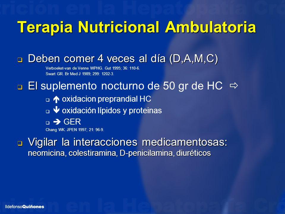 Terapia Nutricional Ambulatoria Deben comer 4 veces al día (D,A,M,C) Deben comer 4 veces al día (D,A,M,C) Verboeket-van de Venne WPHG. Gut 1995; 36: 1