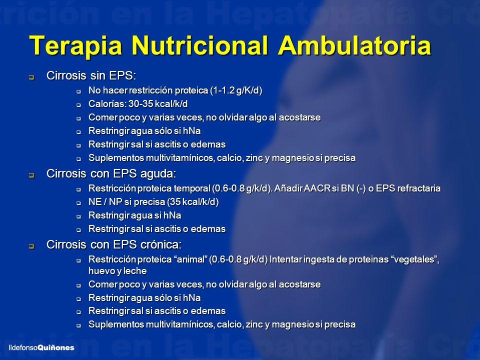 Terapia Nutricional Ambulatoria Cirrosis sin EPS: Cirrosis sin EPS: No hacer restricción proteica (1-1.2 g/K/d) No hacer restricción proteica (1-1.2 g