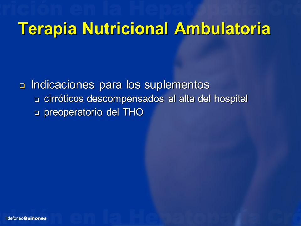 Terapia Nutricional Ambulatoria Indicaciones para los suplementos Indicaciones para los suplementos cirróticos descompensados al alta del hospital cir