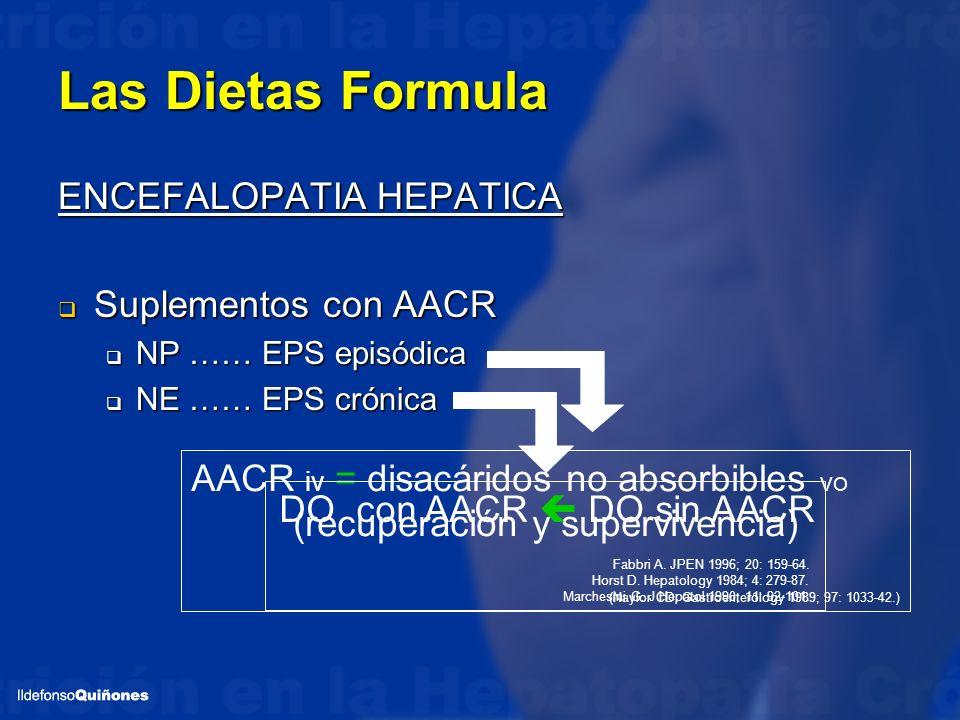 Las Dietas Formula ENCEFALOPATIA HEPATICA Suplementos con AACR Suplementos con AACR NP …… EPS episódica NP …… EPS episódica NE …… EPS crónica NE …… EP