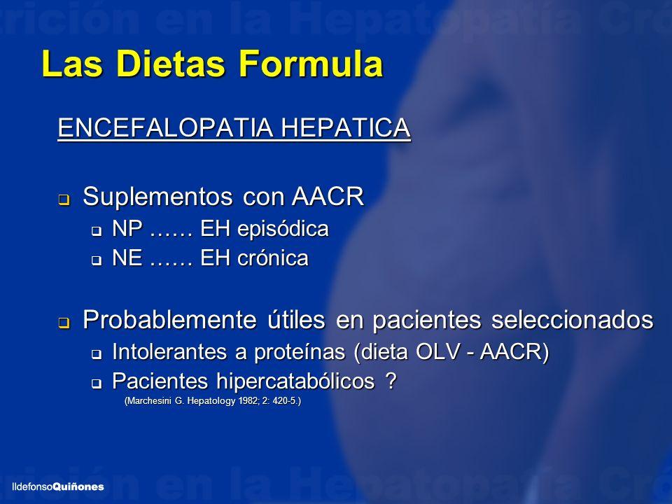 Las Dietas Formula ENCEFALOPATIA HEPATICA Suplementos con AACR Suplementos con AACR NP …… EH episódica NP …… EH episódica NE …… EH crónica NE …… EH cr