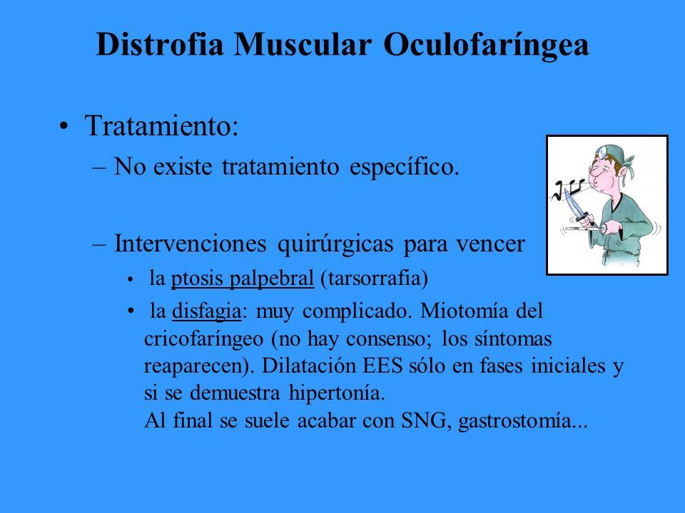 Distrofia Muscular Oculofaríngea Tratamiento: –No existe tratamiento específico.