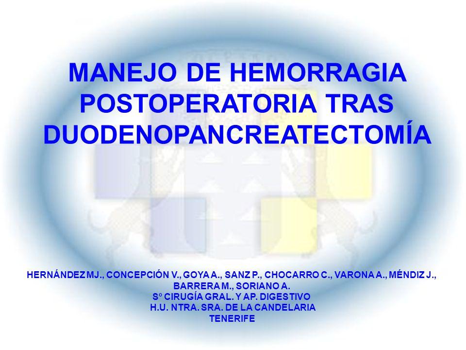 INTRODUCCIÓN Duodenopancreatectomía cefálica (DPC) tratamiento estándar para cáncer región periampular Centros experimentados mortalidad menor 5 % Morbilidad 30 – 40 % Hemorragia complicación con compromiso vital y elevada mortalidad Prevención y manejo papel importante para el cirujano