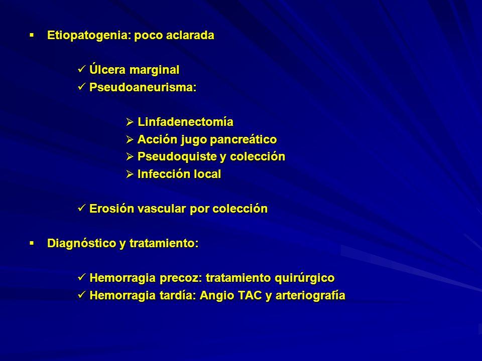 Arteriografía método seguro y eficaz, poco invasivo, alta efectividad Arteriografía método seguro y eficaz, poco invasivo, alta efectividad Cirugía alta mortalidad, dificultosa identificación punto de sangrado Cirugía alta mortalidad, dificultosa identificación punto de sangrado 2ª línea cuando no posible caterización o la embolización 2ª línea cuando no posible caterización o la embolización Endoscopia sólo hacerla si sangrado GI y sospecha úlcera marginal o de línea de sutura.