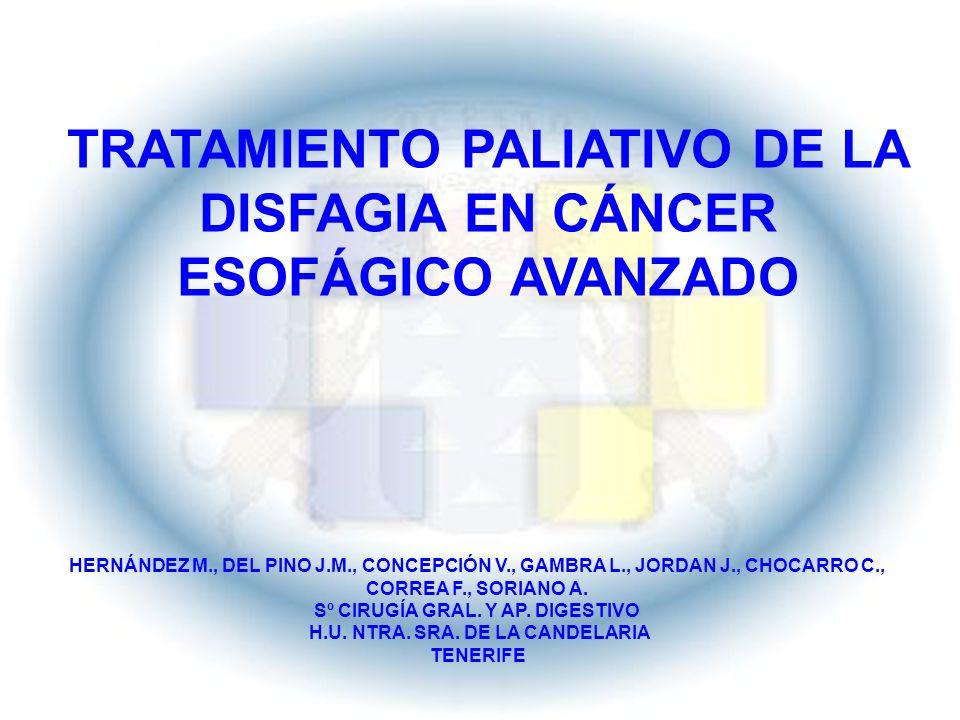 TRATAMIENTO PALIATIVO DE LA DISFAGIA EN CÁNCER ESOFÁGICO AVANZADO HERNÁNDEZ M., DEL PINO J.M., CONCEPCIÓN V., GAMBRA L., JORDAN J., CHOCARRO C., CORRE