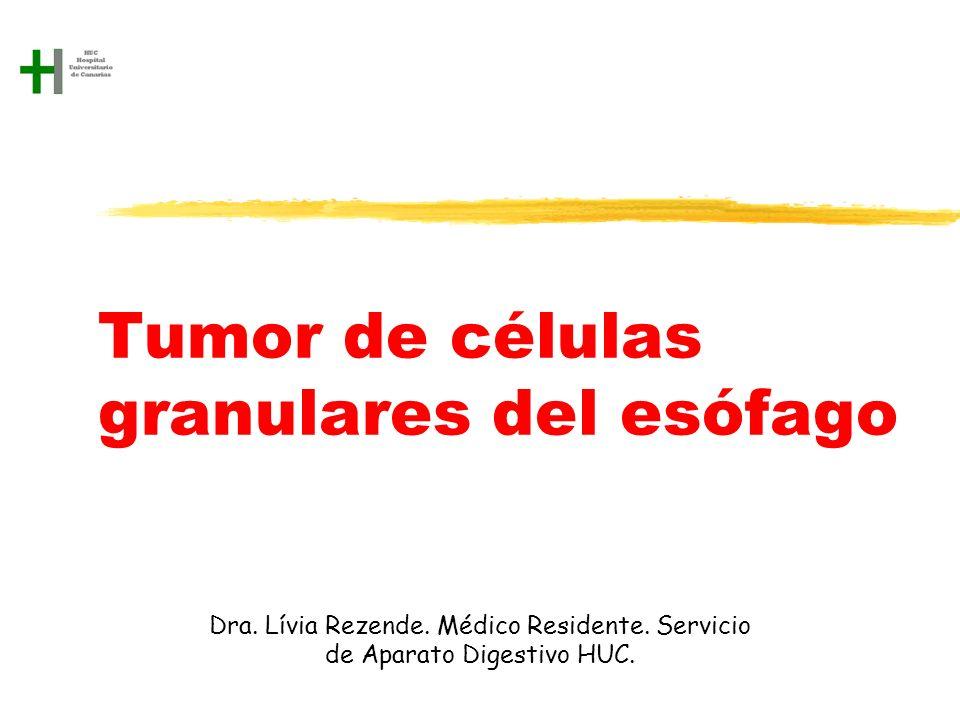Tumor de células granulares del esófago Dra. Lívia Rezende. Médico Residente. Servicio de Aparato Digestivo HUC.