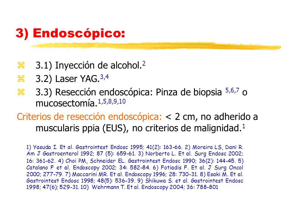 3) Endoscópico: z3.1) Inyección de alcohol. 2 z3.2) Laser YAG. 3,4 z3.3) Resección endoscópica: Pinza de biopsia 5,6,7 o mucosectomía. 1,5,8,9,10 Crit