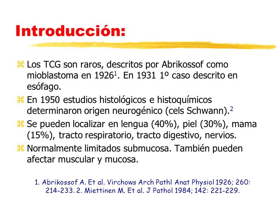 Introducción: zLos TCG son raros, descritos por Abrikossof como mioblastoma en 1926 1. En 1931 1º caso descrito en esófago. zEn 1950 estudios histológ