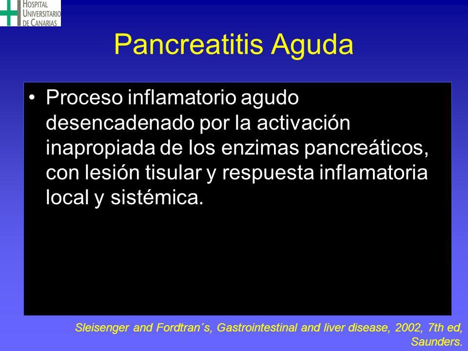 Pancreatitis Aguda Proceso inflamatorio agudo desencadenado por la activación inapropiada de los enzimas pancreáticos, con lesión tisular y respuesta