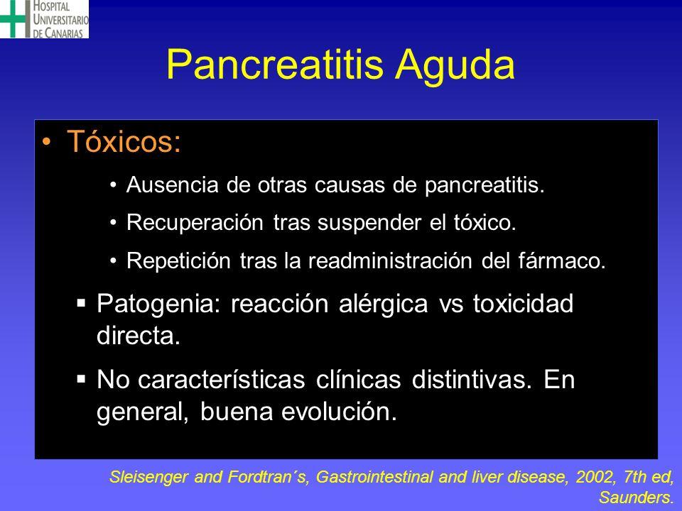 Pancreatitis Aguda Tóxicos: Ausencia de otras causas de pancreatitis. Recuperación tras suspender el tóxico. Repetición tras la readministración del f