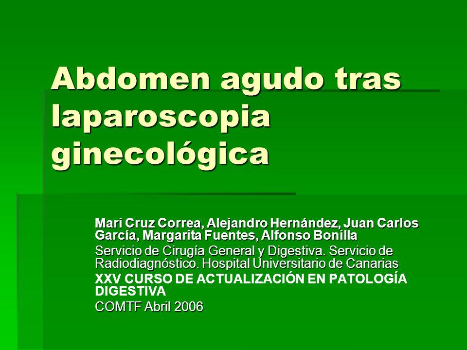 Abdomen agudo tras laparoscopia ginecológica Mari Cruz Correa, Alejandro Hernández, Juan Carlos García, Margarita Fuentes, Alfonso Bonilla Servicio de