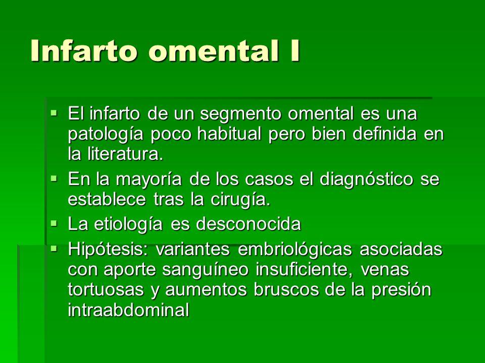 Infarto omental I El infarto de un segmento omental es una patología poco habitual pero bien definida en la literatura. El infarto de un segmento omen
