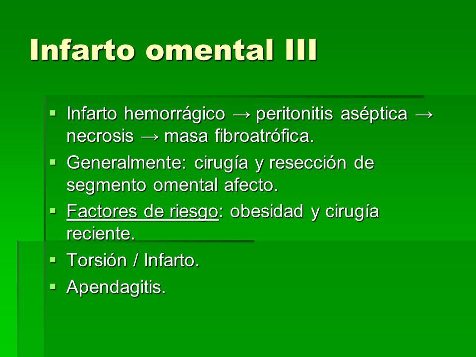 Infarto omental III Infarto hemorrágico peritonitis aséptica necrosis masa fibroatrófica. Infarto hemorrágico peritonitis aséptica necrosis masa fibro