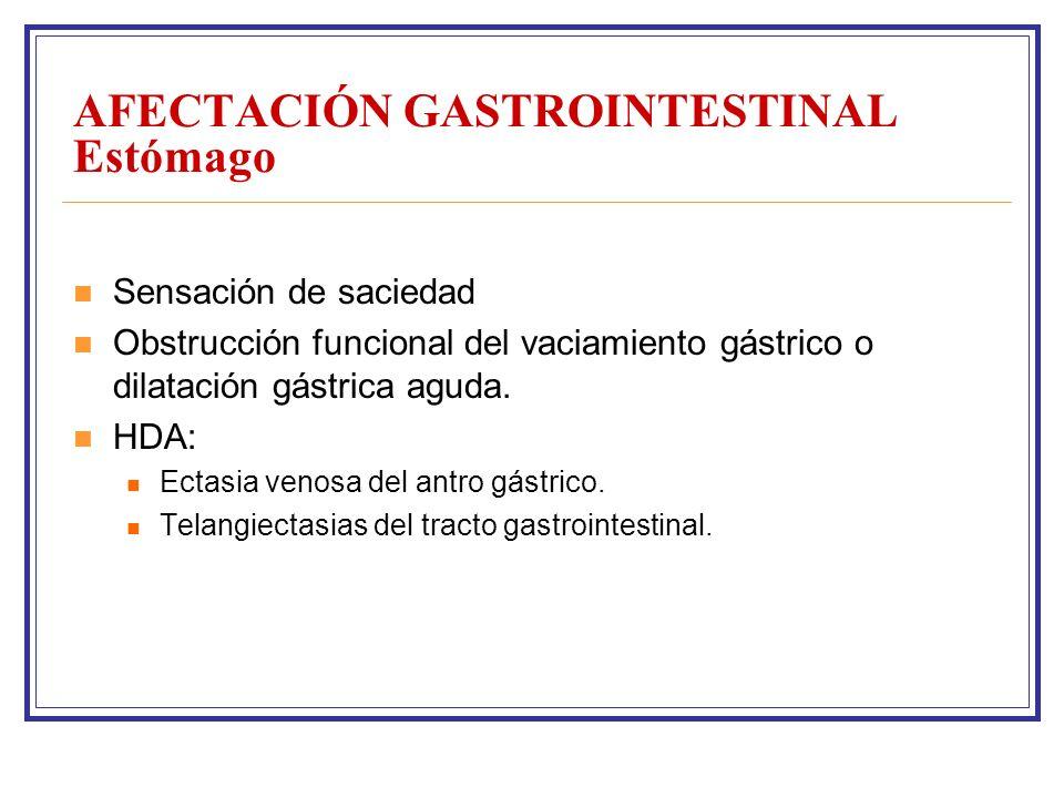 AFECTACIÓN GASTROINTESTINAL Estómago Sensación de saciedad Obstrucción funcional del vaciamiento gástrico o dilatación gástrica aguda.