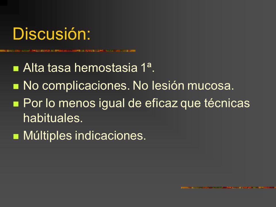 Discusión: Alta tasa hemostasia 1ª. No complicaciones. No lesión mucosa. Por lo menos igual de eficaz que técnicas habituales. Múltiples indicaciones.