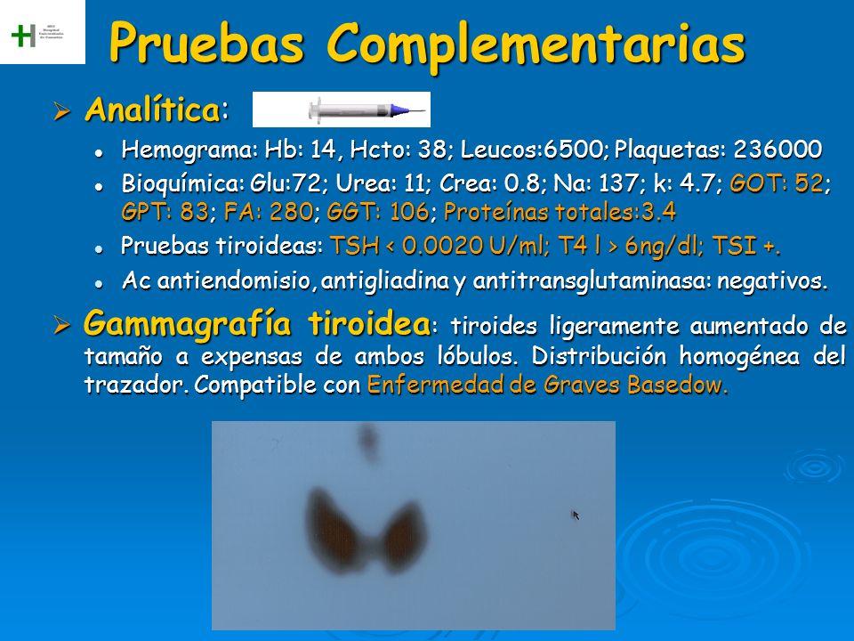 Pruebas Complementarias Analítica: Analítica: Hemograma: Hb: 14, Hcto: 38; Leucos:6500; Plaquetas: 236000 Hemograma: Hb: 14, Hcto: 38; Leucos:6500; Pl