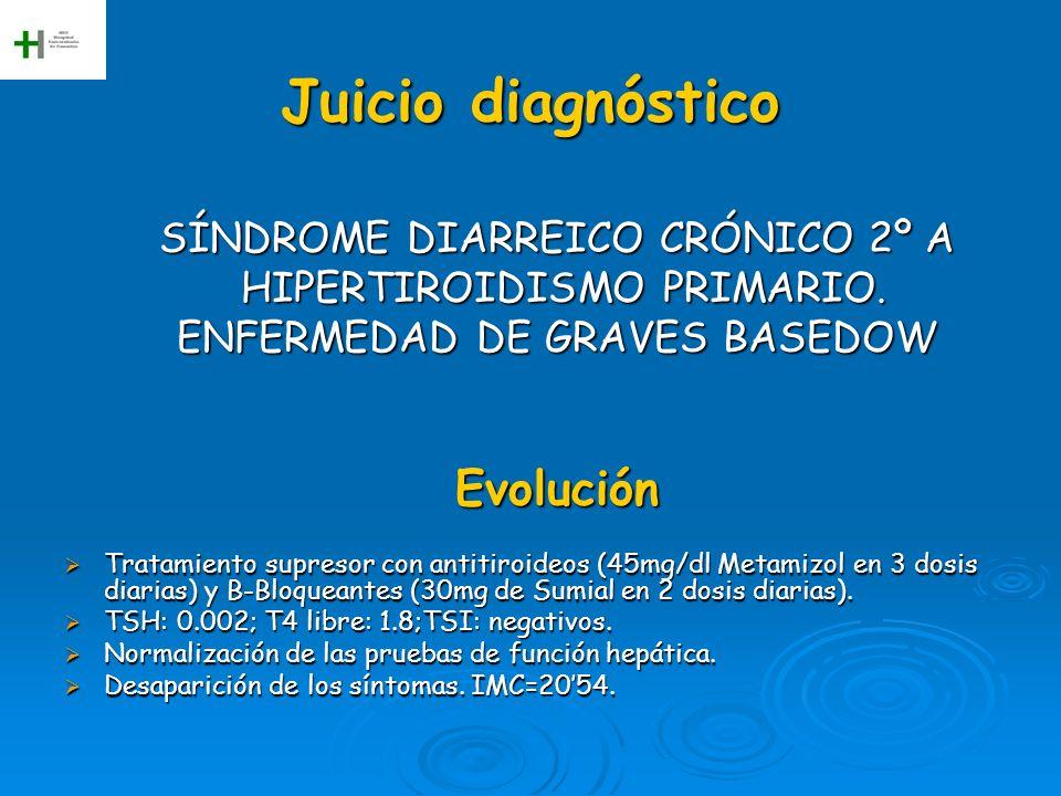 Juicio diagnóstico SÍNDROME DIARREICO CRÓNICO 2º A HIPERTIROIDISMO PRIMARIO. HIPERTIROIDISMO PRIMARIO. ENFERMEDAD DE GRAVES BASEDOW Evolución Tratamie