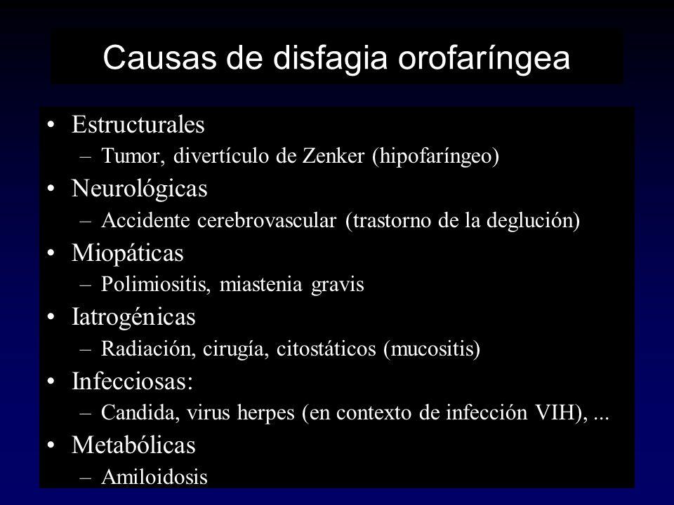 Causas de disfagia orofaríngea Estructurales –Tumor, divertículo de Zenker (hipofaríngeo) Neurológicas –Accidente cerebrovascular (trastorno de la deg