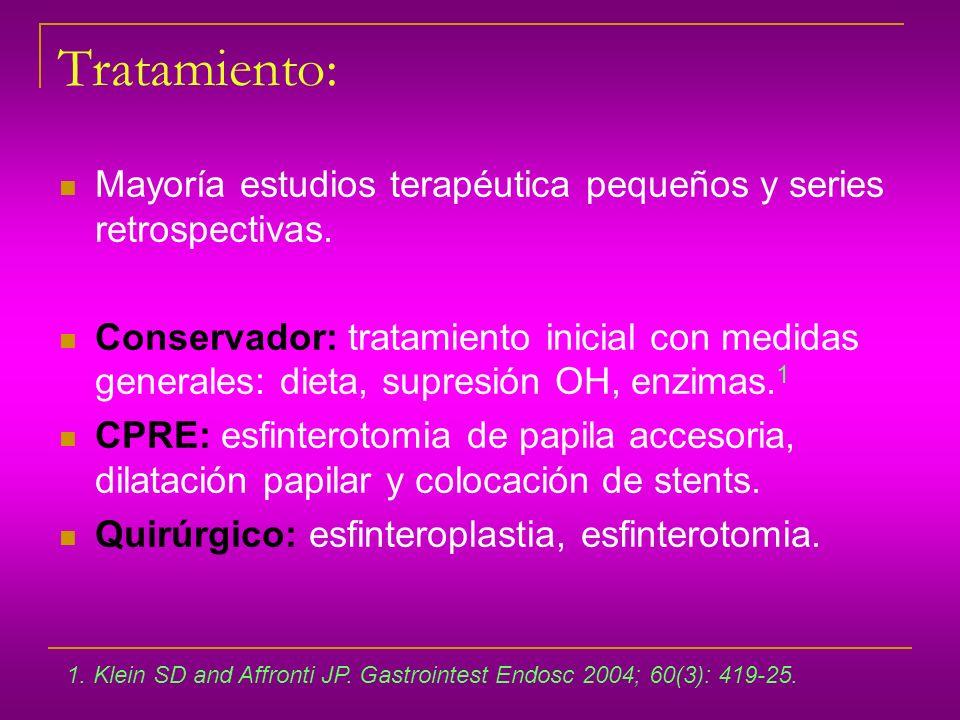 Tratamiento: Mayoría estudios terapéutica pequeños y series retrospectivas. Conservador: tratamiento inicial con medidas generales: dieta, supresión O
