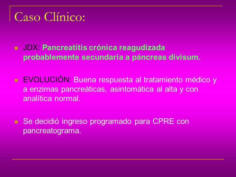 Caso Clínico: JDX: Pancreatitis crónica reagudizada probablemente secundaria a páncreas divisum. EVOLUCIÓN: Buena respuesta al tratamiento médico y a