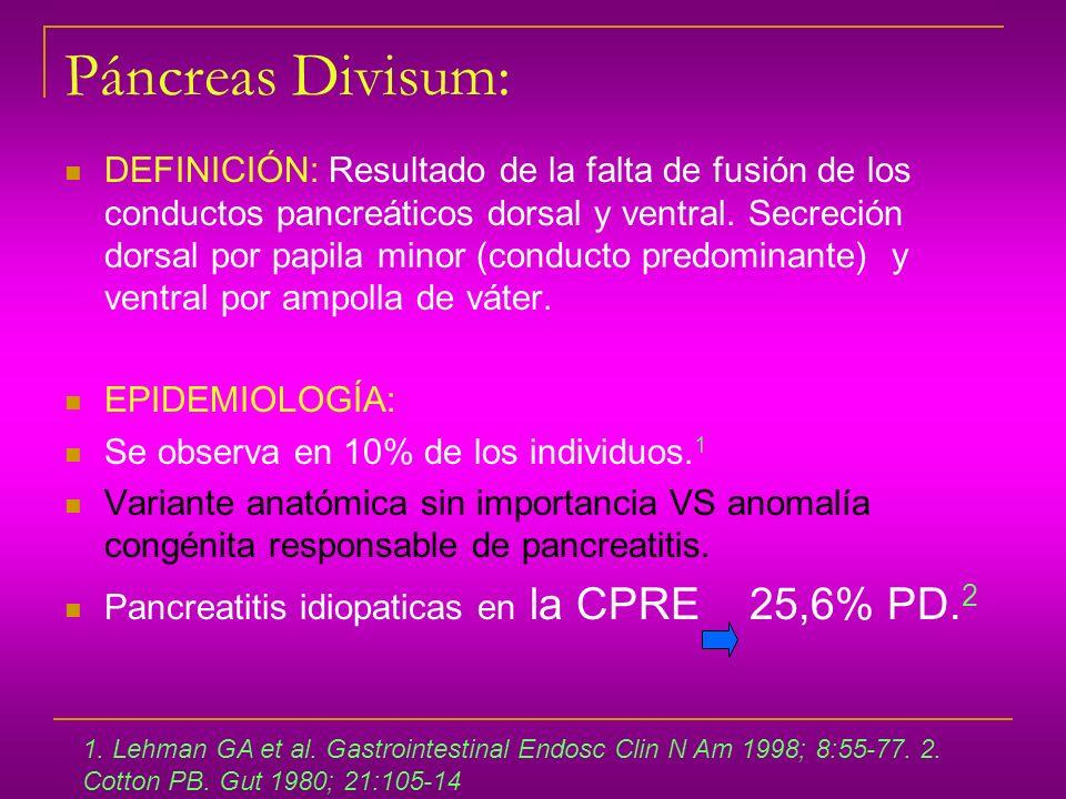 Páncreas Divisum: DEFINICIÓN: Resultado de la falta de fusión de los conductos pancreáticos dorsal y ventral. Secreción dorsal por papila minor (condu