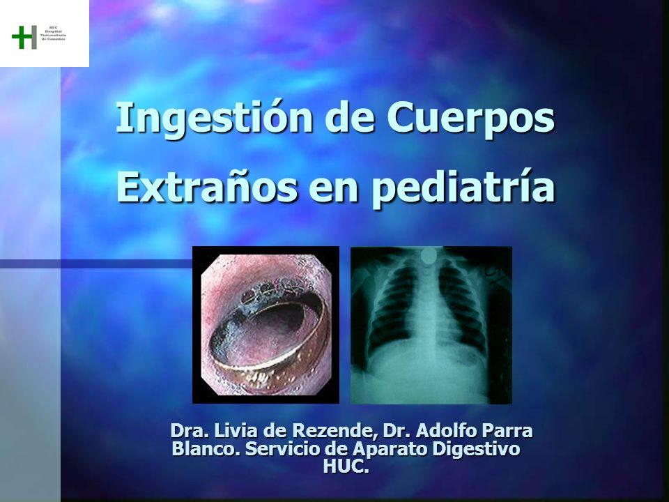 Ingestión de Cuerpos Extraños en pediatría Dra. Livia de Rezende, Dr. Adolfo Parra Blanco. Servicio de Aparato Digestivo HUC. Dra. Livia de Rezende, D
